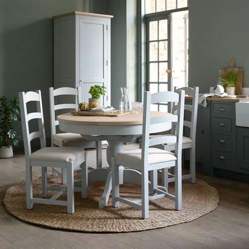 Photo of Chester Dove Grey 110-145cm Ext. Round Table And 4 Chairs