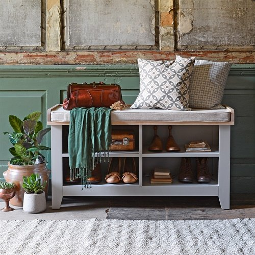 Photo of Chester Dove Grey Open Shoe Storage Bench