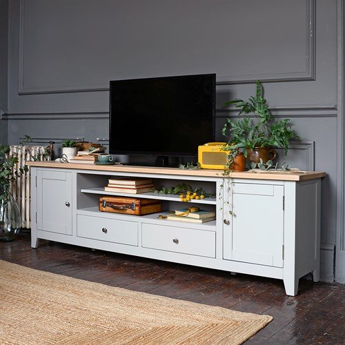 Photo of Chester Dove Grey Extra Large Tv Stand - Up To 99