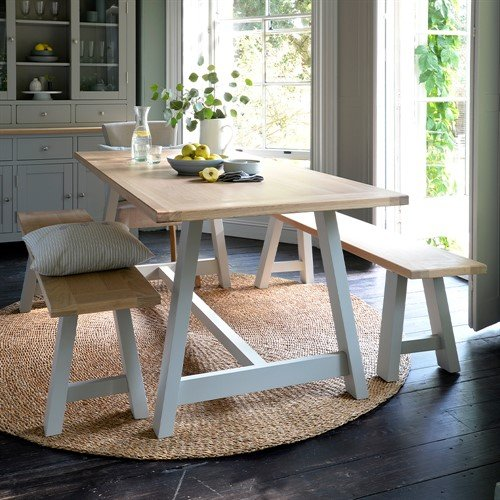 Photo of Chester Dove Grey Mid-sized Trestle Table And Bench Set