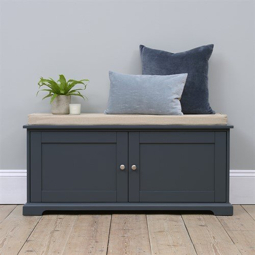 Photo of Westcote Blue Shoe Bench With Doors